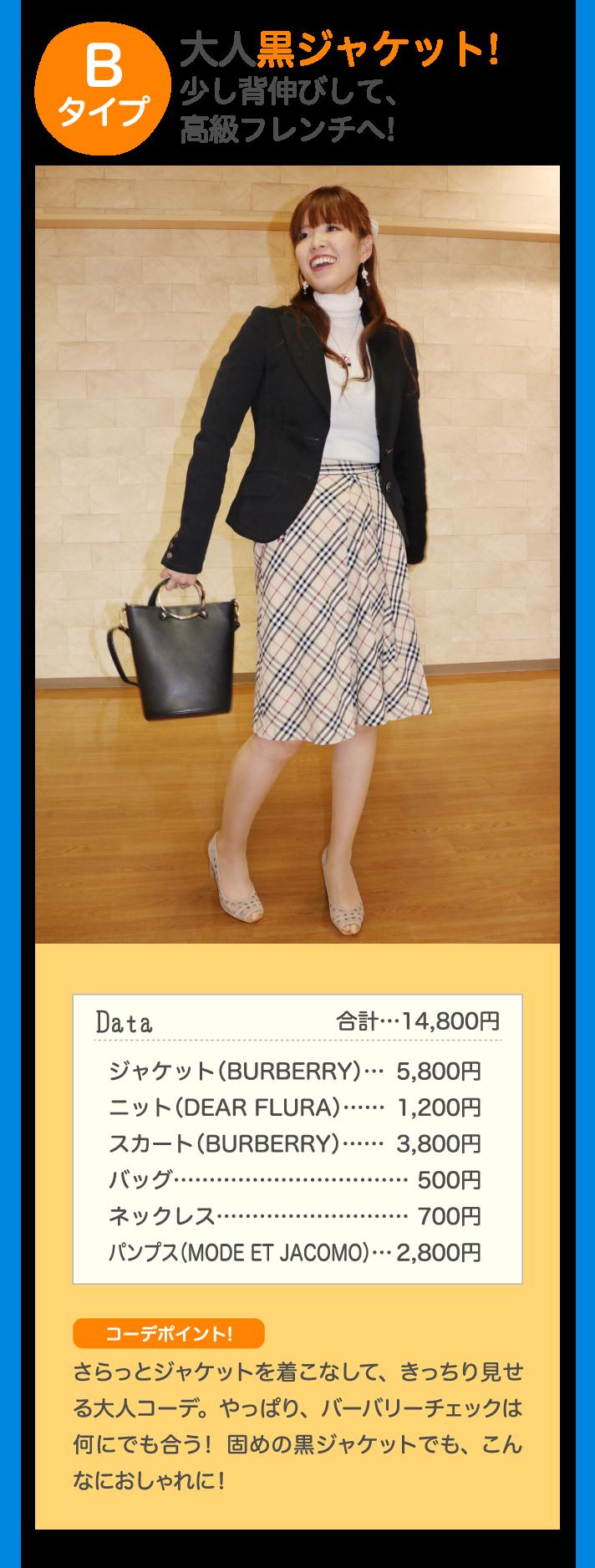 Bタイプ 大人黒ジャケット!少し背伸びして、高級フレンチへ! Data 合計…14,800円 ジャケット(BURBERRY)…5,800円 ニット(DEAR FLURA)…1,200円 スカート(BURBERRY)…3,800円 バッグ…500円 ネックレス…500円 パンプス(MODE ET JACOMO)…2,800円 コーデポイント♪ さらっとジャケットを着こなして、きっちり見せる大人コーデ。やっぱり、バーバリーチェックは何にでも合う! 固めの黒ジャケットでも、こんなにおしゃれに!