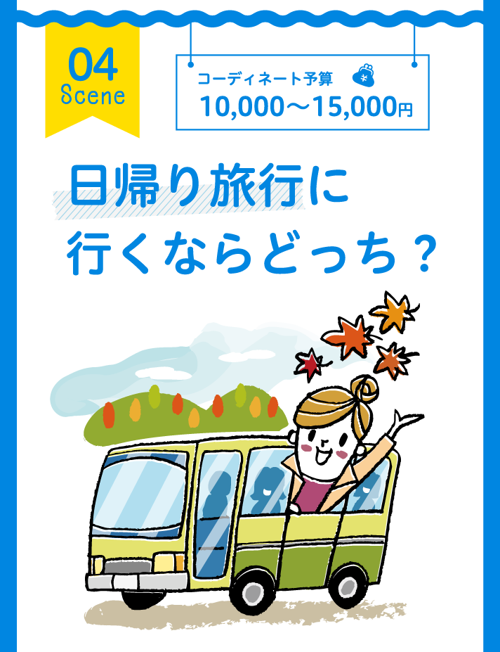04 Scene コーディネート予算 10,000~15,000円 日帰り旅行に行くならどっち?